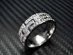 14K White Gold Mens Diamond Wedding Band by Jewelry King inc.