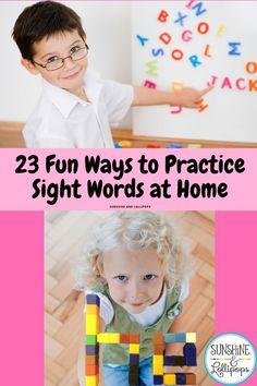 23 Fun Ways to Practice Sight Words at Home Kindergarten Homeschool Curriculum, Kindergarten Readiness, Kindergarten Classroom, Homeschooling, Classroom Ideas, Sight Word Activities, Kindergarten Activities, Preschool, Sight Word Practice