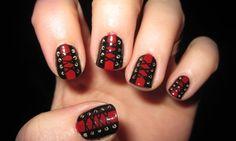 Black Red corset nail art