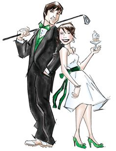 Custom drawing of me & my groom - cute for hotel gift basket tag. I wish I knew who the artist was bc I want one! This would be the perfect save the date for us.