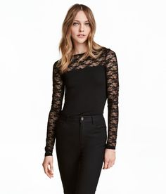 Check this out! Long-sleeved jersey top with a yoke and sleeves in airy, sheer fabric. - Visit hm.com to see more.