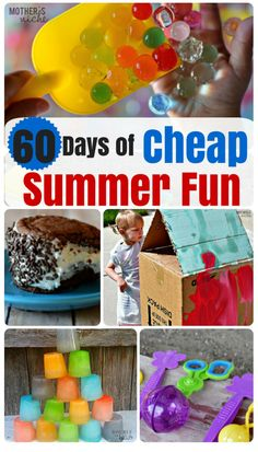 Days of CHEAP Summer Fun! Summer fun doesn't have to break the bank! Here is a roundup of 60 days worth of cheap summer fun!Summer fun doesn't have to break the bank! Here is a roundup of 60 days worth of cheap summer fun! Summer Fun For Kids, Summer Activities For Kids, Games For Kids, Summer Games, Outdoor Fun For Kids, Nanny Activities, Cheap Outdoor Kids Activities, Fun Things For Kids, Activities For 6 Year Olds