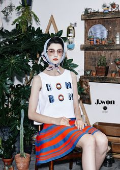 J.WON London SS16 Sleeveless top with 'BonBon' print Stripe-knitted flared skirt