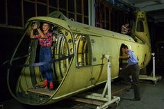 riveters construction a helicopter fuselage in Morton, PA, circa 1952