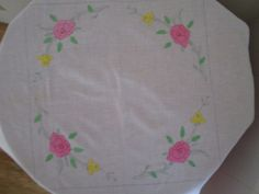 Vintage Table Topper Cotton Applique by VintageLinenGallery