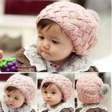 New Cute Baby Beret Knit Crochet Beanie Ball Hat Cap Sweater Children Soft Warm