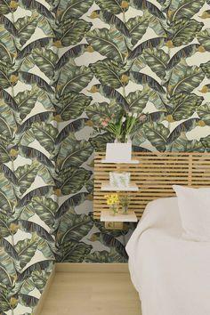 Beige Wallcovering, Palm Leaf Wallpaper, Tropical Wallpaper, Tropical Home Decor, Cozy Home Interior