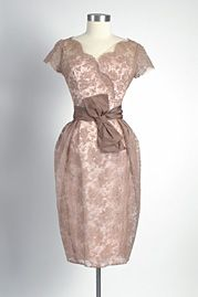 1950's Peggy Hunt Silk and Lace Cocktail Dress. I ADORE this color.