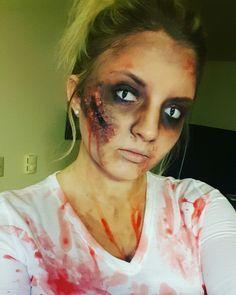 Easy zombie makeup that I did for zombie pub crawl! #halloween #zombie #pubcrawl…
