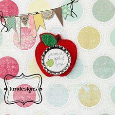 Bottle cap Apple Feltie ITH Embroidery design file Teacher