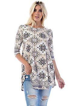5a42b5f15f69b5 Allora Women's & Plus Size Soft Knit Tunic Top at Amazon Women's  Clothing store:
