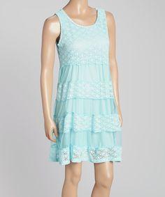 Look what I found on #zulily! Aqua Crochet Dress - Women #zulilyfinds