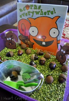 Sensory Bin for Book, Acorns Everywhere by Kevin Sherry (from I Heart Crafty Things) Use plastic acorns for allergy purposes
