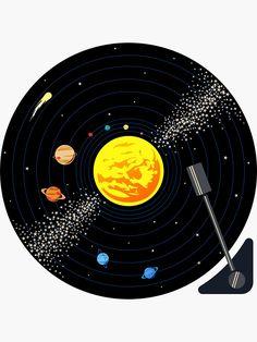 'Solar System Vinyl Record' Sticker by jezkemp Arte Do Sistema Solar, Solar System Art, Solar System Painting, Solar System Design, Record Wall Art, Record Record, Cd Art, Vinyl Art, Decoration