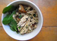 warm chicken and barley salad via milk and mode