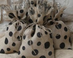 Burlap Favor Bags Pumpkin Set of SIX Size 5 x 7 by FourRDesigns