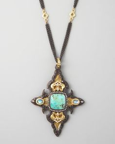 Chrysacolla Cross Enhancer by Armenta at Neiman Marcus.<34560.<3<3