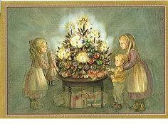 tasha tudor and family dolls christmas tree caspari christmas cards - Caspari Christmas Cards