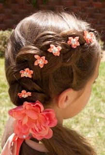 Don't forget flowers are great in the hair!  Dutch braid flower girl