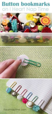 Crafts school things yourself with these great DIY craft ideas- Schulsachen selber basteln mit diesen tollen DIY Bastelideen Crafts school things yourself – button bookmarks – instructions - Cute Crafts, Creative Crafts, Crafts To Make, Easy Crafts, Crafts For Kids, Arts And Crafts, Creative Ideas, Summer Crafts, Craft Gifts