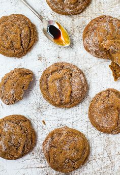 Soft Molasses Coconut Oil Crinkle Cookies #recipe