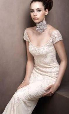 Wedding dress $700 preownedweddingdresses.com Lazaro sheath capped sleeves beading simple elegant