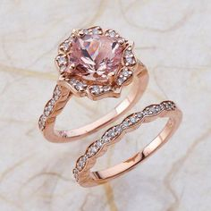 This elegant and feminine Pink Morganite engagement ring and band features a 8x8mm cushion shape Morganite surrounded by sparkling CONFLICT FREE natural diamonds set in a solid 14k Rose Gold halo ring setting. The timeless and classic design of this halo ring will make your engagement unforgettable.I've been Designing