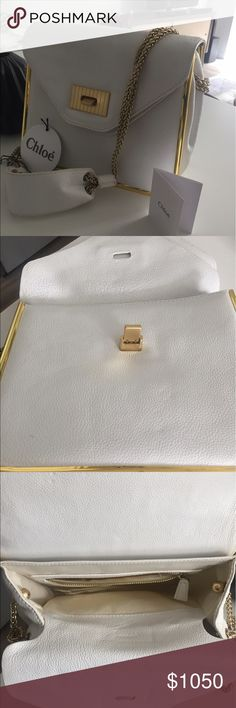 Chloe Sally bag! White, classic, elegant and so pretty with the gold trim. It's authentic with original tags, authentic number and swatch to match. The leather is rich and it's a great size. Chloe Bags Shoulder Bags