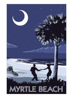 Myrtle Beach, South Carolina - Palmetto Moon Beach Dancers Prints by Lantern Press at AllPosters.com