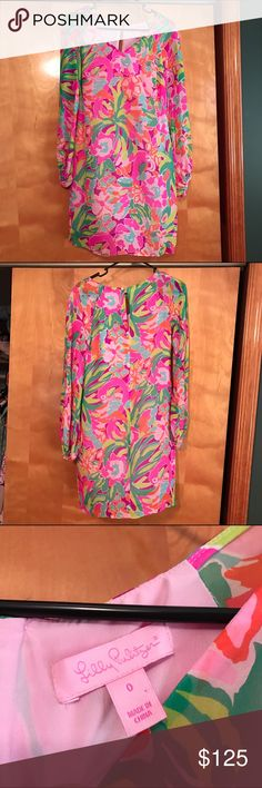 Lilly Pulitzer lulu shift dress Lilly Pulitzer lulu shift dress beautiful lightweight bright pattern rare long sleeve dress! Size zero. Took tags off, me and my sister both tried it on, but never ending up going to the event we bought it for. From a smoke free and pet free home. Lilly Pulitzer Dresses Long Sleeve