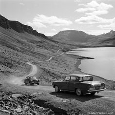 Hvalfjörður  Iceland 1962. Iceland changed to left hand drive 1968  (and Sweden 1967) (Skoda 440 and Ford consul 315)