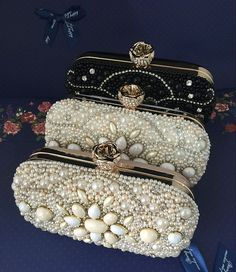 Flower Diamond Evening Bags Women Party Clutch Bags Wedding Bridal Handbag Pearl Beaded Rhinestone Bags SMYCWL-AA0017