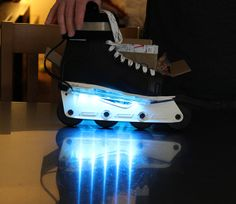 Glo-Blades work on inline skates like rollerblades too! Safer skating in the evenings on beautiful pools of color!