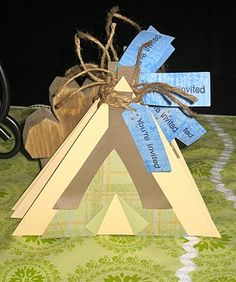 """Tent invitations - thinking a camping themed birthday for H's 4th - maybe a """"camp-under"""" sort like a sleep-under"""