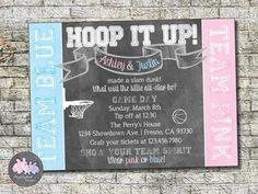 Basketball Gender Reveal Invitation Baby by PurplelephantDesigns