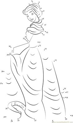 Download or print Cute Princess Aurora dot to dot printable worksheet from Cartoons,Sleeping-Beauty connect the dots category.