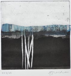 Alice Sheridan Blue Horizon EV Etching with chine collée; each plate is a unique variation Shown at Artists at Home, London Contemporary Printmaking, Contemporary Artists, Abstract Landscape, Abstract Art, Intaglio Printmaking, Collagraph, Drypoint Etching, Inspirational Artwork, Illustration