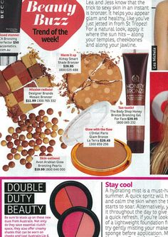 Beauty Buzz featuring The Body Shop Honey Bronze Bronzing Gel. Featured in NW, January 2014.