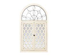 Espejo ventana de madera y cristal, blanco - 80x135 cm