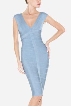 Grey shoulders bandage dress dress BL00745