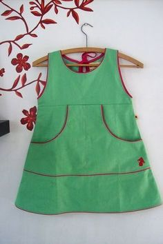 insp use plain jumper pattern & add pocket & piping. like the key hole tie back option instead of zip too. Frocks For Babies, Baby Girl Frocks, Frocks For Girls, Little Girl Dresses, Toddler Dress, Toddler Outfits, Kids Outfits, Little Girl Fashion, Fashion Kids
