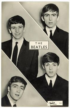 The Beatles, top to bottom, George, Ringo, Paul and John