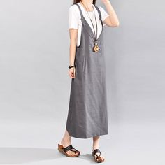 Loose Solid Pocket Sleeveless Gray Suspender Skirt