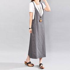 Loose Solid Pocket Sleeveless Gray Suspender Skirt