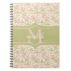 Shabby Chic Vining Roses Personalize Monogram Note Books