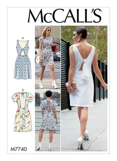 M7740 Mccalls Sewing Patterns, Vintage Sewing Patterns, Dress Patterns, Simple Dresses, Summer Dresses, Patron Vintage, Vintage Apron, Open Back Dresses, Miss Dress