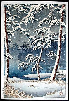 'Senzoku Pond' (1928) woodblock print by Hasui Kawase by Plum leaves, via Flickr