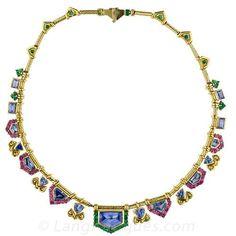 Multi-Color Sapphire Necklace - 90-91-25 - Lang Antiques