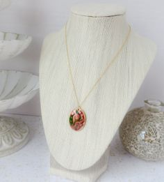 Floral Swirl Oval Pendant Necklace by InstinctBoutique on Etsy, $30.00
