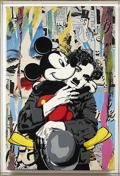 artnet Galleries: Charlie & Mickey by Mr. Brainwash from Mount Street Galleries – streetart Banksy Graffiti, Street Art Graffiti, Bansky, Mickey Mouse Cartoon, Mickey Mouse Pop Art, Tableau Pop Art, Mr Brainwash, Art Drawings Beautiful, Dope Art